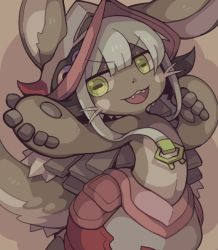 1girl :3 animal_ears big_hat fang flat_chest fur goat_eyes looking_at_viewer made_in_abyss nanachi_(made_in_abyss) neonraizu open_mouth simple_background smile solo tail whiskers white_hair yellow_eyes