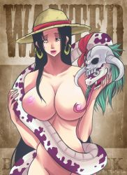 1girl boa_hancock breasts earrings huge_breasts lips nipples nude one_piece salome_(one_piece) skull snake straw_hat turtlechan wanted