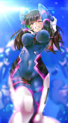 1girl arms_behind_head bangs blue_sky blurry bodysuit breasts brown_eyes brown_hair covered_navel cowboy_shot d.va_(overwatch) depth_of_field facepaint facial_mark gloves grin hair_between_breasts headphones knees_together large_breasts long_hair looking_at_viewer mecha meka_(overwatch) one_eye_closed outdoors overwatch pilot_suit ryouma_(galley) skin_tight sky smile solo sunlight swept_bangs whisker_markings white_gloves