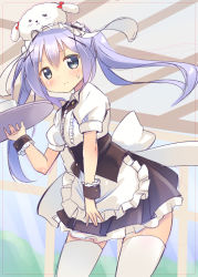 1girl alternate_costume alternate_hairstyle angora_rabbit animal animal_on_head apron bangs black_skirt blue_eyes bolo_tie breasts bunny bunny_on_head closed_mouth collared_shirt cowboy_shot cup frilled_apron frilled_cuffs frilled_shirt frilled_skirt frills gochuumon_wa_usagi_desu_ka? hair_between_eyes hair_ornament hairclip holding holding_tray kafuu_chino kurou_(quadruple_zero) light_blue_hair long_hair on_head puffy_short_sleeves puffy_sleeves shirt short_sleeves sidelocks sketch skirt small_breasts standing sweatdrop thighhighs tippy_(gochiusa) tray twintails underbust waist_apron white_apron white_legwear white_shirt wing_collar wrist_cuffs x_hair_ornament zettai_ryouiki