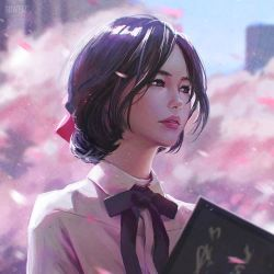 1girl artist_name blue_sky blurry book building cherry_blossoms city collared_shirt day depth_of_field guweiz holding holding_book light_smile looking_afar original outdoors parted_lips petals pink_lips plant shirt sky solo spring_(season) tree upper_body white_shirt wing_collar
