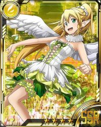 1girl blonde_hair breasts card_(medium) cleavage dress feathered_wings green_eyes high_ponytail leafa long_hair medium_breasts solo star strapless strapless_dress sword_art_online thigh_strap white_wings wings