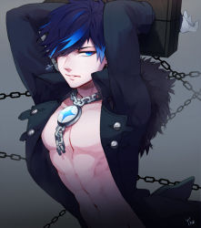 1boy abs arms_up black_hair bloody_yukime blue_eyes blue_hair chains ciel_(elsword) earrings elsword gloves grey_background jacket jewelry male multicolored_hair pillory shirtless solo two-tone_hair