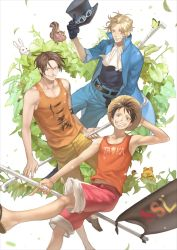 3boys blonde_hair brothers chipmunk cravat flag frog hat male_focus monkey_d_luffy multiple_boys one_piece pixiv_id_12615508 portgas_d_ace rabbit sabo_(one_piece) scar staff straw_hat tank_top time_paradox top_hat trio