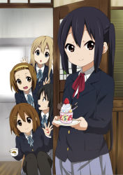 >:> >:o 5girls :o akiyama_mio black_hair black_legwear blazer blonde_hair blue_eyes blue_ribbon blue_skirt blush brown_eyes brown_hair chocolate classroom collared_shirt cup cupcake food forehead fruit hair_between_eyes hair_ornament hairband hairclip hirasawa_yui holding holding_cup holding_plate indoors jacket k-on! kotobuki_tsumugi long_hair looking_at_another looking_at_viewer multiple_girls nakano_azusa official_style open_mouth pantyhose plate pleated_skirt pocky ragho_no_erika red_ribbon ribbon school_uniform shirt short_hair skirt smile sprinkles squatting strawberry sweatdrop tainaka_ritsu thick_eyebrows twintails v whipped_cream white_shirt