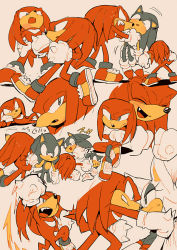 aoki_(fumomo) gloves knuckles_the_echidna laughing punching rouge_the_bat sonic sonic_the_hedgehog