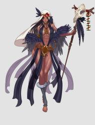 abs barefoot breasts dark_skin feathers skull staff tan toeless_socks yunori