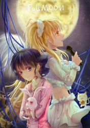 1girl 2girls absurdres angel_wings black_eyes black_hair blonde_hair blue_ribbon bunny cat character_name drill_hair dual_persona feathered_wings from_side full_moon full_moon_(full_moon_wo_sagashite) full_moon_wo_sagashite fur_trim gradient gradient_background hair_ornament high_ponytail highres holding kouyama_mitsuki long_hair meroko_yui meroko_yui_(bunny) microphone moon multiple_girls older profile ribbon shanyinre singing skirt takuto_kira takuto_kira_(cat) time_paradox twin_drills very_long_hair white_skirt wings yellow_eyes