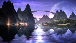 bridge fantasy full_moon highres lake landscape light_particles moon mountain night no_humans original reflection scenery smile_(qd4nsvik) water