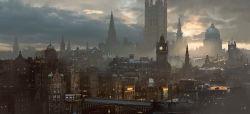 blurry bridge church city cityscape clock clock_tower cloud cloudy_sky depth_of_field fog no_humans original road rounin_(amuza) scenery sky street sunlight tower