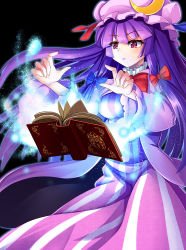 1girl black_background book bow crescent hair_bow hat long_hair orb patchouli_knowledge purple_eyes purple_hair ribbon rumirumi solo touhou