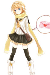 1girl akano_sakura arms_behind_back black_legwear black_skirt blonde_hair blue_eyes hair_ornament kagamine_rin letter looking_at_viewer love_letter pleated_skirt scarf school_uniform shirt short_hair simple_background skirt solo thighhighs vocaloid white_background white_shirt yellow_scarf