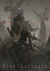2girls absurdres bare_shoulders breasts copyright_name dress expressionless eyelashes eyes_closed gloves highres holding holding_weapon lips long_hair monochrome multiple_girls nier_(series) nier_automata open-back_dress pale_skin ruins sitting standing sword text weapon white_hair yorha_no._2_type_b yorha_type_a_no._2