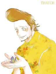 1boy brown_hair butterfly male_focus one_piece pompadour solo thatch