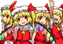 4girls :d ^_^ blonde_hair eyes_closed fang flandre_scarlet four_of_a_kind_(touhou) gerijita hat hat_ribbon mob_cap multiple_girls open_mouth puffy_short_sleeves puffy_sleeves red_eyes ribbon short_hair short_sleeves side_ponytail skirt smile touhou vest wings