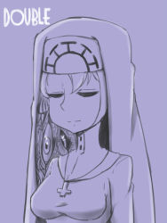 1girl character_name cross double_(skullgirls) eyes_closed female monochrome monster necklace nun simple_background skullgirls solo