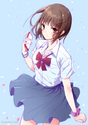 1girl artist_name bangs blue_background blush bow bowtie bracelet brown_eyes brown_hair cellphone closed_mouth cowboy_shot eyebrows_visible_through_hair hand_up holding holding_phone jewelry kazuharu_kina original phone red_bow red_bowtie school_uniform scrunchie shirt simple_background skirt skirt_lift smartphone solo uniform watermark white_shirt wind wind_lift wrist_scrunchie