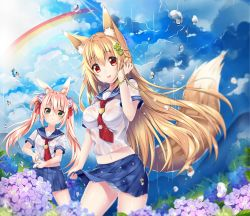 2girls animal_ears blonde_hair blush bra breasts brown_hair bunny_ears duji_amo fox_ears fox_tail green_eyes lavender_hair long_hair looking_at_viewer multiple_girls open_mouth original panties parted_lips rain red_eyes school_uniform see-through smile striped striped_panties summer tail twintails underwear wet wet_clothes