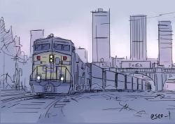 bridge building no_humans original purple railroad_tracks seo_tatsuya sketch sky skyscraper train twitter_username