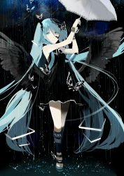 1girl absurdres bare_shoulders black_dress black_wings blue_eyes blue_hair blue_nails butterfly dress floating_hair full_body glycan hair_between_eyes hair_ornament hatsune_miku highres insect long_hair low_wings nail_polish no_socks pale_skin rain ribbon sandals sleeveless sleeveless_dress smile solo twintails umbrella very_long_hair vocaloid water white_ribbon white_umbrella wings