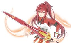 1girl armlet aura black_necktie closed_mouth cowboy_shot elesis_(elsword) elsword free_knight_(elsword) holding holding_sword holding_weapon juliet_sleeves long_hair long_sleeves looking_at_viewer moyashi_(rina) necktie ponytail puffy_sleeves red_eyes red_hair red_shirt serious shirt solo sword weapon