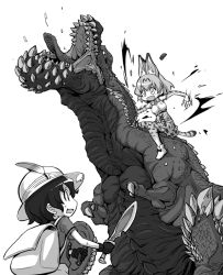 2girls animal_ears attack bag blood claws commentary_request deviljho fang kaban kemono_friends monochrome monster monster_hunter multiple_girls nino_(ninouchi_irazu) open_mouth serval_(kemono_friends) serval_ears serval_tail sharp_teeth shield short_sword sword tail teeth weapon