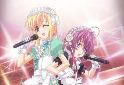 2boys androgynous blonde_hair boku_no_pico child curly_hair green_eyes kuro-kun long_hair lowres maid male microphone multiple_boys pico purple_eyes purple_hair shounen_maid_kuro-kun singing trap wink