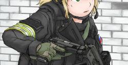 1girl ak-74 assault_rifle blonde_hair dutchko gloves green_eyes gun handgun headset long_sleeves military military_uniform open_mouth original rifle russia russian_flag short_hair solo trigger_discipline uniform weapon