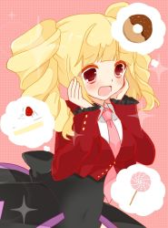 07th_expansion 1girl :d beelzebub beelzebub_(umineko) blonde_hair cake candy doughnut drill_hair elmab food fruit hands_on_own_cheeks hands_on_own_face lollipop necktie no_naku_koro_ni_(series) open_mouth red_eyes ryuukishi07 slice_of_cake smile sparkle stakes_of_purgatory strawberry swirl_lollipop twin_drills twintails umineko_no_naku_koro_ni