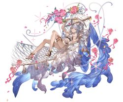 1girl animal_ears bare_shoulders blue_eyes breasts cleavage erun_(granblue_fantasy) flower full_body granblue_fantasy hair_flower hair_ornament hammock high_heels holding korwa long_hair looking_at_viewer lying medium_breasts minaba_hideo nail_polish navel official_art on_back quill silver_hair smile solo sparkle swimsuit transparent_background