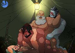 4boys age_difference anal artist_name artist_request ass bara barefoot body_hair camping character_request final_fantasy group_sex multiple_boys muscle nude old_man orgy sandwiched sex smile yaoi