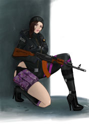 1girl boots brown_hair capcom female jessica_sherawat looking_at_viewer resident_evil resident_evil_revelations weapon wet wetsuit