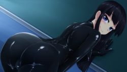 ass bent_over black_hair blue_eyes bodysuit latex latex_suit long_hair looking_back shiny_clothes sideboob skin_tight smile tamakko zipper