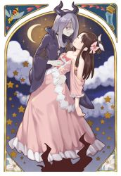 2girls bare_shoulders black_cloak bow brown_hair choker cloud collarbone crescent_moon dress easter_lily eyes_closed flower frilled_dress frills fukuroumori hair_bow hair_over_one_eye heart highres horned_headwear kagari_atsuko lily_(flower) little_witch_academia long_hair moon multiple_girls pink_dress purple_hair red_eyes sharp_teeth sky smile star star_(sky) starry_sky sucy_manbavaran teeth wasp white_flower yuri
