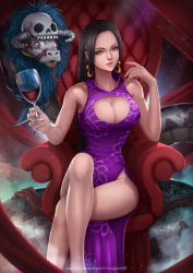1girl alcohol amazon black_hair blue_eyes boa_hancock breasts chair cleavage cleavage_cutout cup dress earrings jewelry large_breasts legs legs_crossed long_hair looking_at_viewer magion02 one_piece salome_(one_piece) signature skull sleeveless sleeveless_dress smile snake solo_focus watermark web_address wine wine_glass