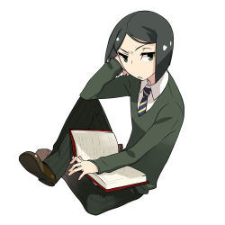 1boy black_hair bob_cut book capsule_servant fate_(series) green_eyes necktie official_art open_book school_uniform short_hair sitting solo waver_velvet