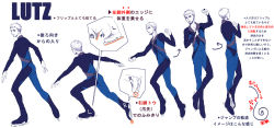 1boy bodysuit christophe_giacometti directional_arrow facial_hair figure_skating ice_skates instructions jumping limited_palette male_focus sacco_(sacco_ds) skates translation_request yuri!!!_on_ice