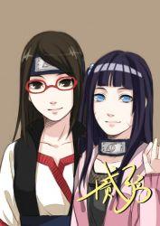 alternate_hairstyle black_hair blue_eyes facial_mark glasses naruto older red-framed_glasses shi_er_xian uchiha_sarada uzumaki_himawari