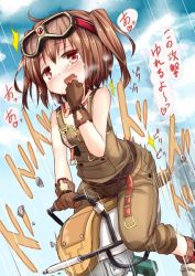 1girl bare_shoulders belt blush brown_hair gloves goggles goggles_on_head inyucchi motion_lines ole_tower open_mouth overalls rammer_(ole_tower) red_eyes short_hair solo straddling translation_request twintails