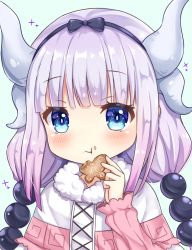 1girl beads blue_eyes butterfly cookie dress eating food hair_beads hair_ornament hairband horns kanna_kamui kobayashi-san_chi_no_maidragon long_hair pink_hair ribbon solo sunameri_(pixiv3564245) twintails upper_body very_long_hair