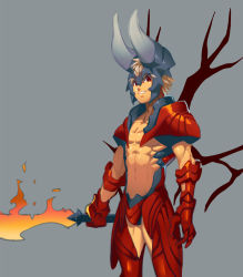1boy armor blade blonde_hair defense_of_the_ancients dota_2 fire gauntlets helmet horns lucifer_(dota_2) lvlv male_focus open_mouth red_eyes shirtless simple_background smirk solo spiked_hair sword weapon