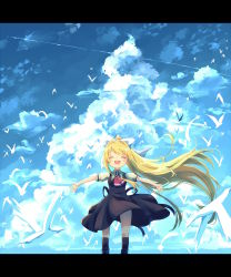 1girl air ayakashi_(monkeypanch) bird blonde_hair cloud eyes_closed highres kamio_misuzu long_hair outstretched_arms ponytail school_uniform seagull standing
