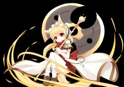 1girl animal_ears axe battle_axe black_background blonde_hair bow bowtie capelet fox_ears frilled_skirt frills hairband holding leaf1031 lolita_fashion lolita_hairband long_hair looking_at_viewer original red_eyes shoes simple_background skirt solo weapon