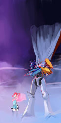 1girl bandai cape crossed_arms curvy digimon digimon_story:_cyber_sleuth dress female full_armor gunbuster_pose highres horns monster night omegamon red_hair shiramine_nokia tagme thighhighs twintails