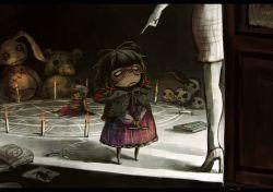 2girls :c ahoge box brown_hair candle capelet chalk character_doll darkness doll dress glasses hat high_heels koto_inari magic_circle mother_and_daughter multiple_girls purple_dress red-framed_glasses skull stuffed_animal stuffed_bunny stuffed_toy teddy_bear touhou toy usami_sumireko yakumo_yukari