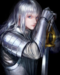 1boy androgynous armor berserk black_background blue_eyes full_armor griffith hakusensha lips long_hair looking_at_viewer mj_(11220318) nose silver_hair simple_background solo sword weapon