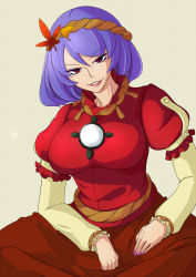 autumn_leaves blue_hair breasts brown_skirt eiti hairband hands_on_lap highres large_breasts lips long_sleeves looking_at_viewer mirror nail_polish neck parted_lips puffy_short_sleeves puffy_sleeves purple_nails red_eyes red_shirt rope shimenawa shirt short_sleeves simple_background sitting skirt smile teeth touhou yasaka_kanako