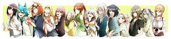 6+girls ;) absurdres amamizu_seri animal_ears antenna_hair bare_shoulders black_hair blonde_hair blue_eyes borrowed_character braid breasts brown_hair cat_ears character_request cleavage crossover detached_sleeves dog_ears double_v earrings elf forehead french_braid glasses goggles goggles_on_head green_eyes green_hair grin hair_bobbles hair_bun hair_ornament hairband hairclip hand_on_another's_shoulder height_difference heterochromia highres hug hug_from_behind jewelry long_hair long_image medium_breasts minako_(minamoto) mole mole_under_eye multiple_girls nail_polish necktie one_eye_closed open_mouth orange_hair original paw_pose pink-framed_eyewear pointy_ears ponytail purple_eyes red-framed_eyewear red_eyes ribbed_sweater school_uniform semi-rimless_glasses short_hair silver_hair small_breasts smile steepled_fingers sweatdrop sweater thick_eyebrows turtleneck under-rim_glasses v vice_(kuronekohadokoheiku) wide_image x_hair_ornament