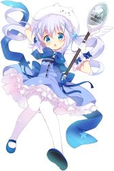 1girl :o adapted_costume animal_hat april_fools artist_request bangs blue_dress blue_eyes blue_hair blue_shoes brooch bunny cat_hat dress flower frilled_dress frills gloves gochuumon_wa_usagi_desu_ka? hair_flower hair_ornament hairclip hat holding holding_hat jewelry kafuu_chino looking_at_viewer magical_girl mary_janes official_art pantyhose ribbon shoes solo staff tippy_(gochuumon_wa_usagi_desuka?) transparent_background twintails white_gloves white_legwear