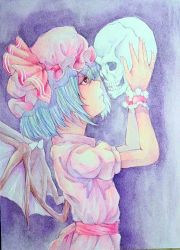 1girl bat_wings blue_hair frown hands_up hat highres holding mob_cap photo profile red_eyes remilia_scarlet short_hair skull solo touhou traditional_media watercolor_(medium) wings wrist_cuffs yuyu_(00365676)